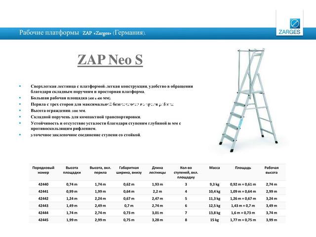 Рабочие платформы ZAP – ZARGES (пр-во Германии). - 5
